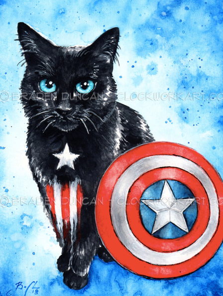 Print - Captain America Kitten