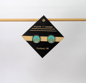 Earrings - Turquoise Block Stud