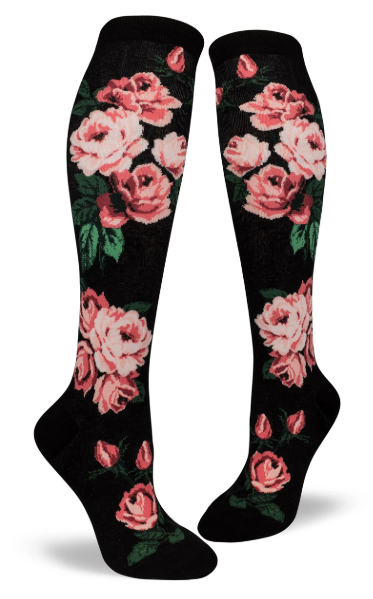 Sock - Knee-High:  Romantic Rose / Black