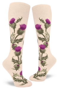 Sock - Knee-High: Thistle - Heather Cream