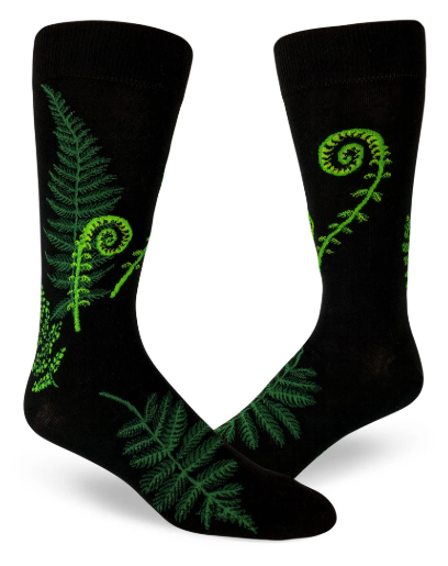 Sock - Large Crew: Ferns and Fiddleheads - Black