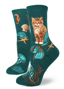 Sock - Small Crew: Purrmaids Woman's Crew - Deep Teal