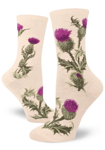 Sock - Small Crew: Thistle - Heather Cream