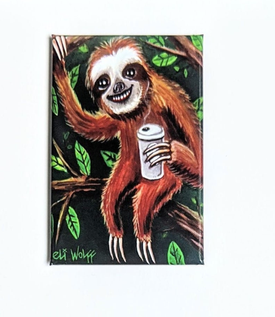 2.25 Magnet - Coffee Sloth