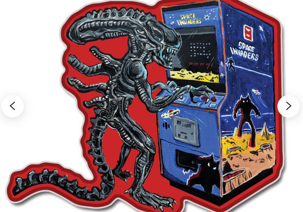 Sticker - Alien Playing Space Invaders
