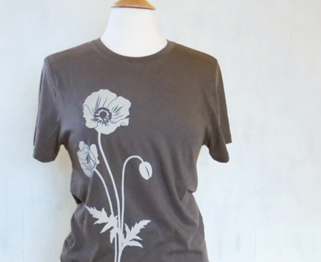 Shirt: Grey Poppy Flower - Unisex Crew
