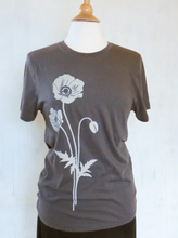 Load image into Gallery viewer, Shirt: Grey Poppy Flower - Unisex Crew
