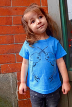Load image into Gallery viewer, Toddler Shirt - Teal Narwhal - Unisex Crew
