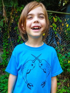 Toddler Shirt - Teal Narwhal - Unisex Crew