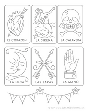 Load image into Gallery viewer, BIG SHEET Embroidery Patterns - MEXICAN LOTERIA
