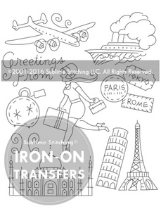 Craft Supply - Embroidery Pattern - Bon Voyage