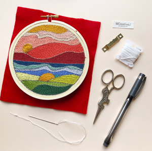 DIY Craft Kit - Embroidery - Stained Glass Landscape