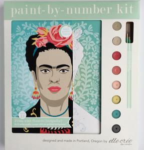 DIY - Paint By Number Kit - Frida with Flowers (Turquoise)