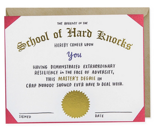Card - School of Hard Knocks