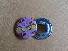 Load image into Gallery viewer, Bottle Opener Keychain - Pattern Pizza Party