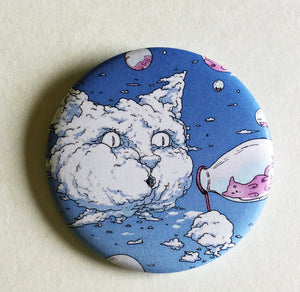 Magnet - 2.25 Inch: Bubble Cat - Blue