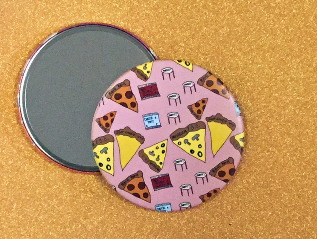 Mirror - 3.5 Inch: Pizza Party Pattern