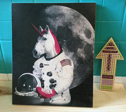 Wood Print: Astronaut Unicorn
