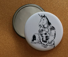 Load image into Gallery viewer, Mirror - 2.25 Inch: Astronaut Unicorn - B&W