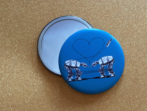 2.25 Inch Mirror: Love AT-AT First Sight - Blue