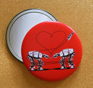 Mirror - 2.25 Inch: Love AT-AT First Sight - Red
