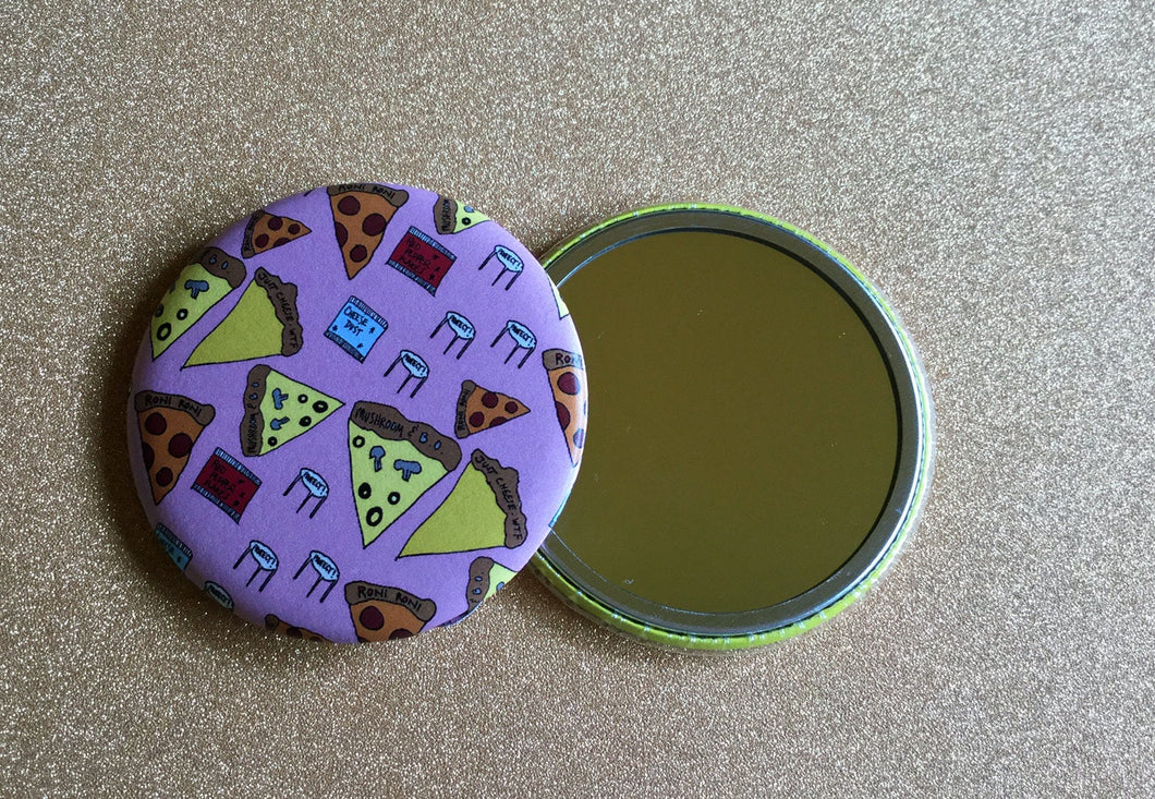 2.25 Inch Mirror: Pizza Party Pattern