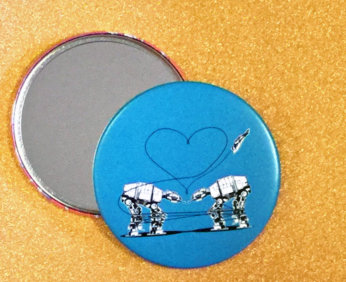 Mirror - 3.5 Inch: Love AT-AT First Sight - Blue
