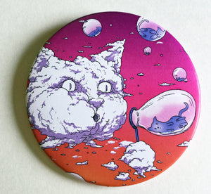 Mirror - 3.5 Inch: Bubble Cat - Sunset