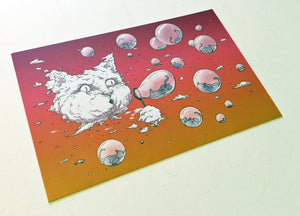 Postcard: Bubble Cat - Sunset