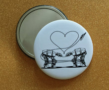 Load image into Gallery viewer, 2.25 Inch Mirror: Love AT-AT First Sight - B&W
