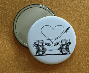 2.25 Inch Mirror: Love AT-AT First Sight - B&W