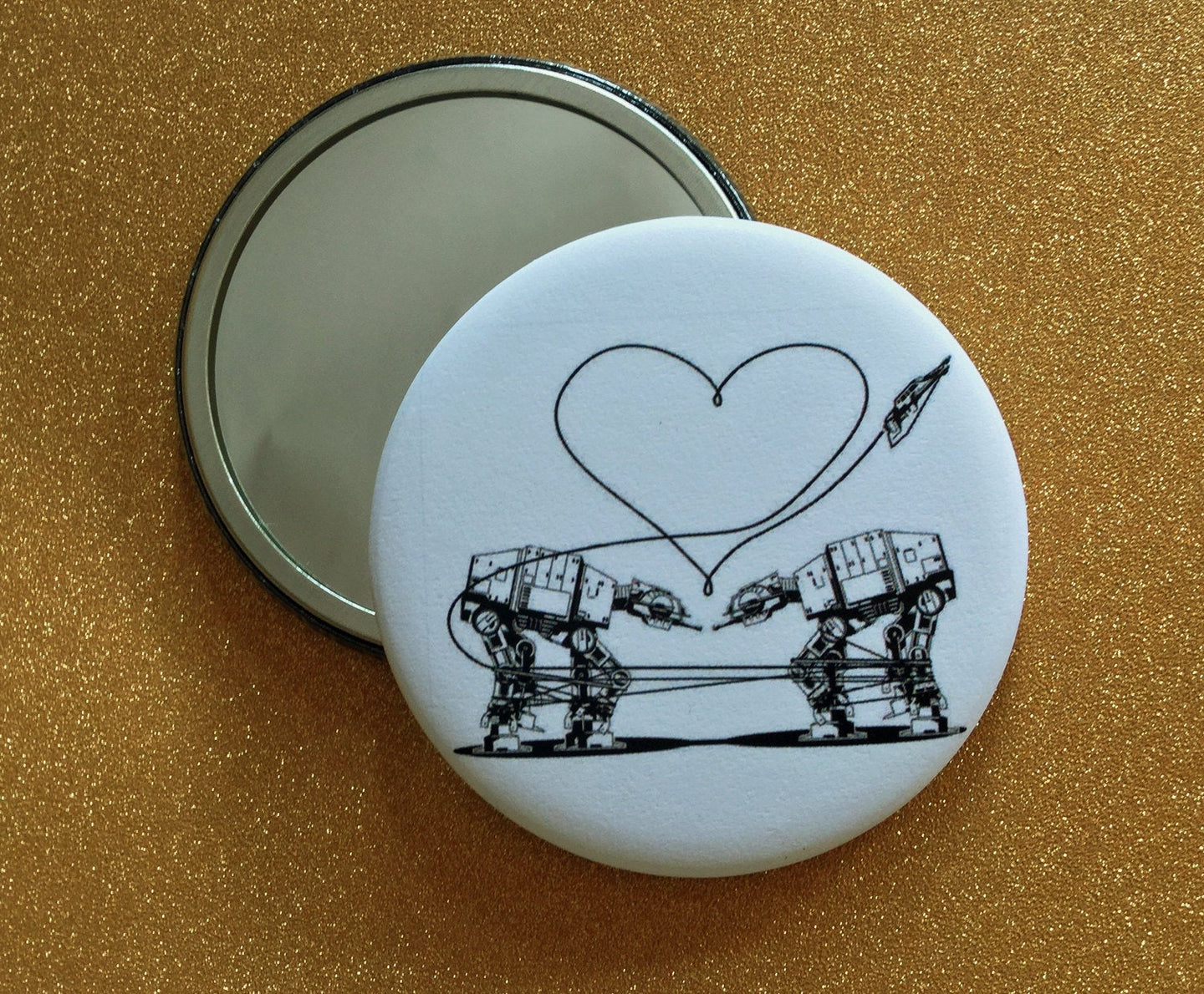 Mirror - 2.25 Inch: Love AT-AT First Sight - B&W