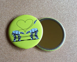 Mirror - 2.25 Inch: Love AT-AT First Sight - Yellow