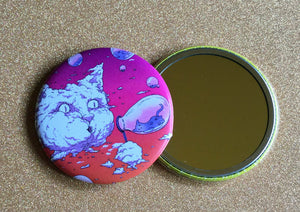 2.25 Inch Mirror: Bubble Cat - Sunset