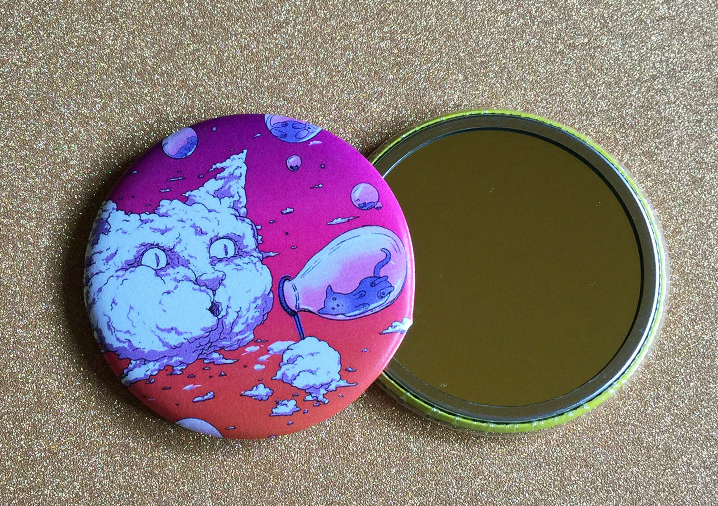 Mirror - 2.25 Inch: Bubble Cat - Sunset