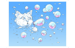 Print: Bubble Cat - Blue