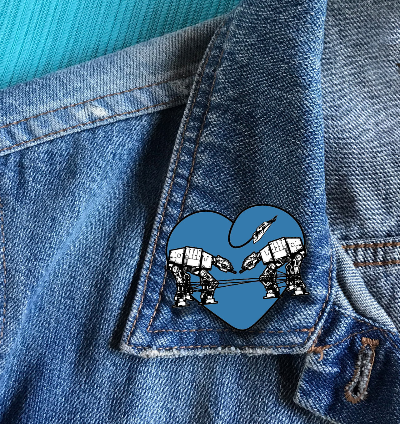 Enamel Pin: Love AT-AT First Sight - Blue