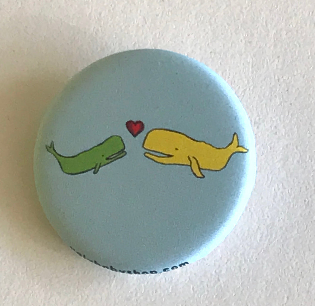 Magnet - 1.25 Incht: Whales Pattern