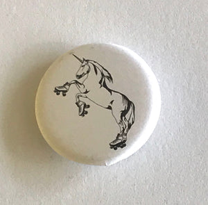 1.25 Inch Magnet: Roller Skating Unicorn - Black and White