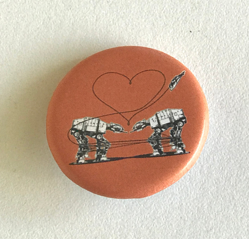 1.25 Inch Magnet: Love AT-AT First Sight - Orange