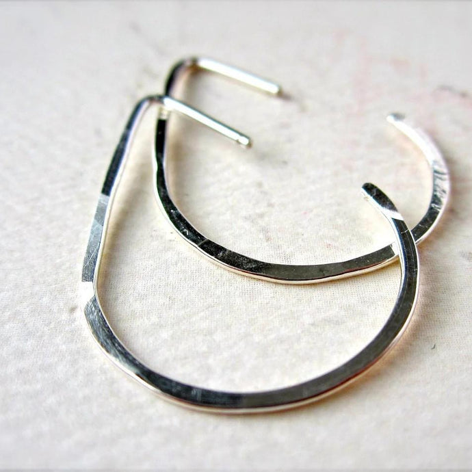 The Point Hoop Earrings - handmade hammered teardrop open hoop earrings - Foamy Wader
