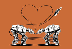Star Wars Stationery, Star Wars Valentines, Postcard: Orange AT-AT Love, ATAT Walkers, Valentines Day