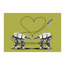 Load image into Gallery viewer, Star Wars Stationery, Star Wars Valentines, Postcard: Green AT-AT Walkers, Star Wars Valentines Cards, Valentine for Men