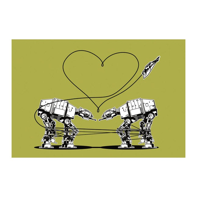 Star Wars Stationery, Star Wars Valentines, Postcard: Green AT-AT Walkers, Star Wars Valentines Cards, Valentine for Men