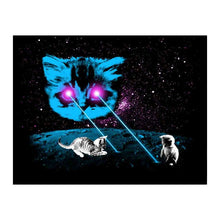 Load image into Gallery viewer, Funny Cat Postcard: Meta Laser Cats Postcard with Kittens, Laser Space Cat, Laser Eyes Space Cat, Laser Beam Space Cat,