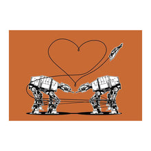 Load image into Gallery viewer, Star Wars Stationery, Star Wars Valentines, Postcard: Orange AT-AT Love, ATAT Walkers, Valentines Day