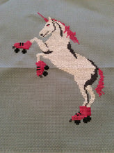 Load image into Gallery viewer, Craft Kit: Cross Stitch - Roller Skating Unicorn