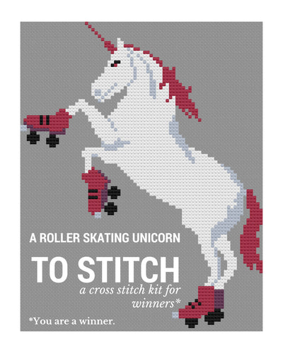 Craft Kit: Cross Stitch - Roller Skating Unicorn