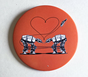 Magnet: 3.5 Inch - Love AT-AT First Sight - Orange