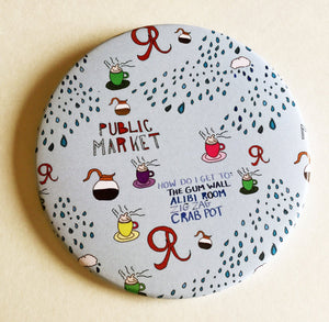 Giant 3.5 Inch Seattle Magnet - Fridge Magnet, Refrigerator Magnets, Pike Place Market Magnet, Coffee Magnet